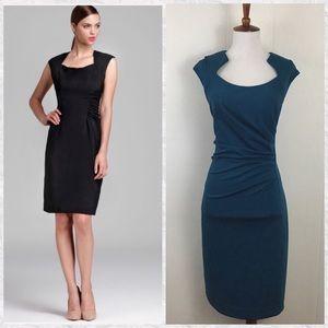 Calvin Klein Ruched Side Cap Sleeve Sheath Dress